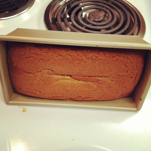 Pumpkin bread on its side