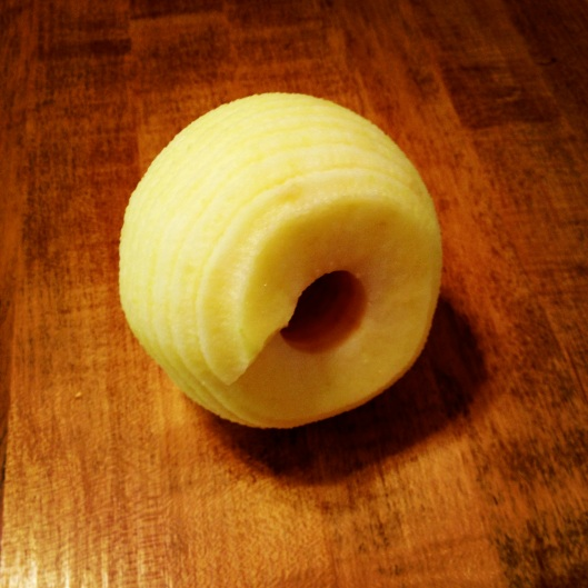 Peeled, sliced, cored apple by My Life as a Trophy Wife