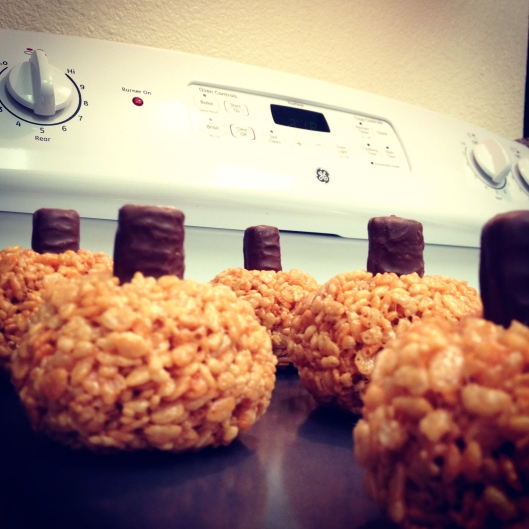 Pumpkin Rice Krispies with Twix Stem by My Life as a Trophy Wife