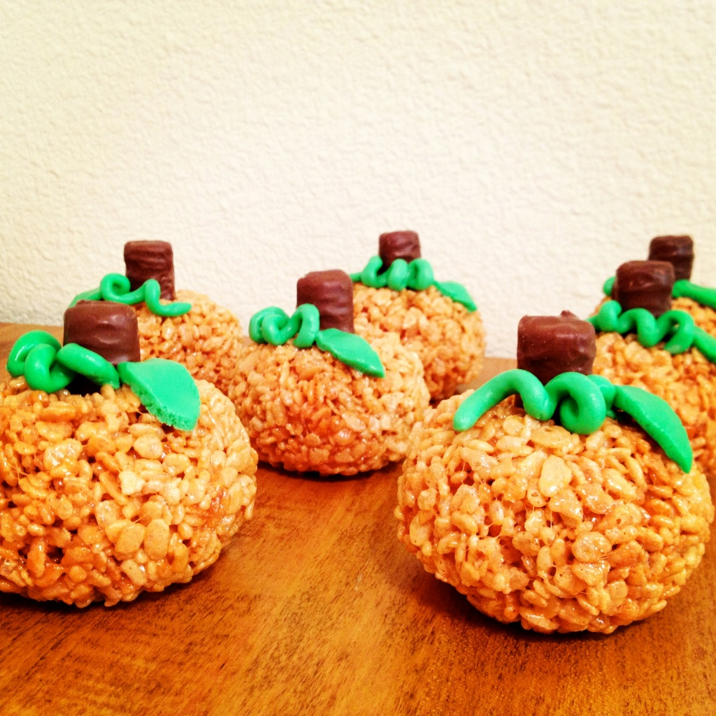Pumpkin (shaped) Rice Krispie Treats by My Life as a Trophy Wife