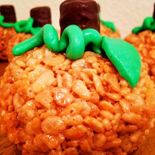 Single Pumpkin Rice Krispie Treat by My Life as a Trophy Wife
